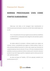 Normas processuais civis como fontes subsidiárias - Resumo