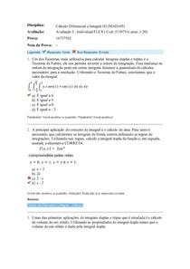 Avaliação I da disciplina Calcuo diferencial e integral III
