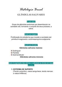 Histologia Bucal - Glândulas salivares