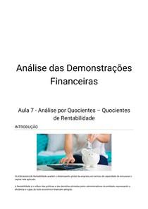 Analise Demonstrações Financeiras - Aula 7
