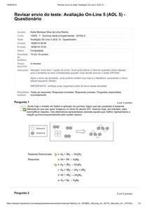 Avaliação On-Line 5 (AOL 5) - Quimica geral e experimental