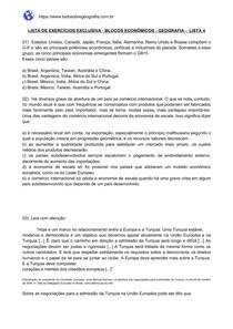 Lista de exercícios sobre Blocos Econômicos - Lista 4