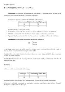 Soluções - Molaridade e Solubilidade - Química - Resumo, exemplos e exercícios
