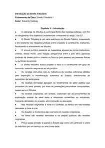 Fichamento do livro Direito Tributário I - Eduardo Sabbag