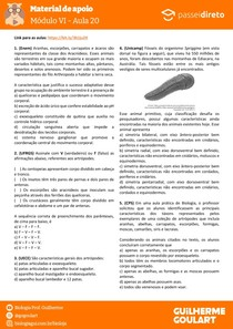 Módulo 6 - aula 20 - Artrópodes (Características Gerais)