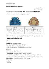 Materiais de moldagem - Alginatos