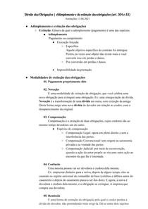 Direito das Obrigações - Adimplemento e da extinção das obrigações