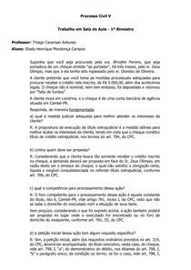 TRABALHO PROCESSO CIVIL 5 - PROCESSO DE EXECUÇÃO