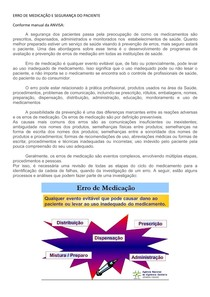 UNIDADE I - ERROS DE MEDICAÇÃO