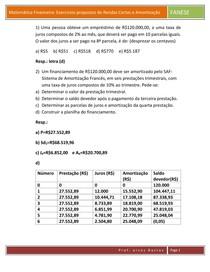 Exercícios propostos de Rendas Certas e Amortização