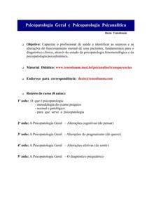 Psicopatologia Geral e Psicopatologia psicanalitica. Décio Tenenbaum