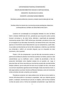 """Análise """"teoria dos movimentos sociais paradigmas clássicos e contemporâneos"""", de Glória Gohn."""