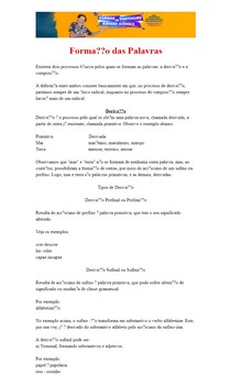 Processos de Formação das Palavras - Material completo com Exemplos e Dicas