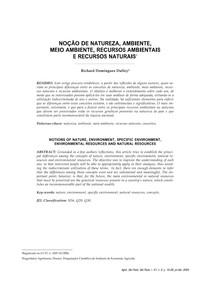 NOÇÃO DE NATUREZA, AMBIENTE, MEIO AMBIENTE, RECURSOS AMBIENTAIS E RECURSOS NATURAIS