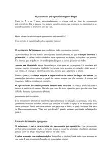 O pensamento pré-operatório segundo Piaget