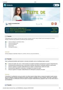 Exercícios e Simulado Bases da Biomedicina