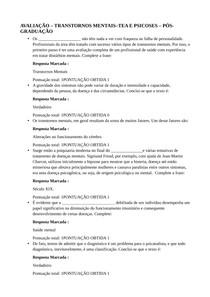 AVALIAÇÃO TRANSTORNOS MENTAISTEA E PSICOSES PÓS-GRADUAÇÃO