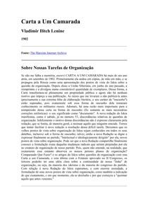 Carta a Um Camarada   V. I. Lénine