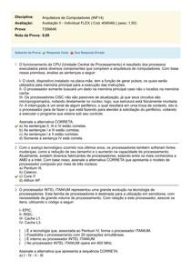 Arquitetura de Computadores (INF14)   Avaliação II   Individual FLEX Cod (404048) Prova (7356646)