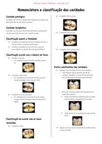 Dentística - Nomenclatura e classificação das cavidades