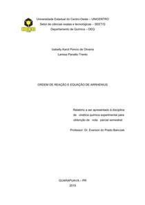 relatorio cinetica equação de arrhenius