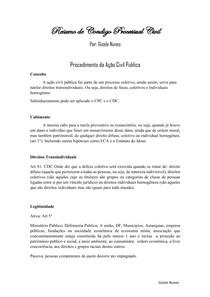 Resumo Procedimento da Ação Civil Publica; Procedimento da Ação Civil Pública Por Ato de Improbidade Administrativa e Da Interdição