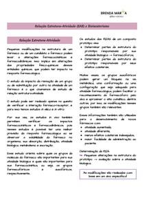 Relação Estrutura-Atividade (SAR) e Bioisosterismo