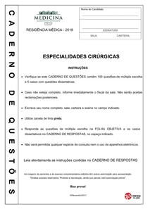 Residência Médica USP 2018 Especialidades Cirúrgicas