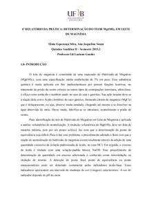 DETERMINAÇÃO DO TEOR Mg(OH)2 EM LEITE DE MAGNÉSIA