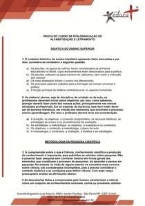 PROVA DO CURSO DE ALFABETIZAÇÃO E LETRAMENTO