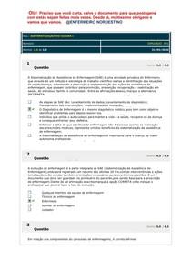 SIMULADO AV1 Sistematização do Cuidar 1 prova garabarito