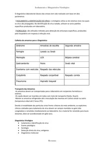Isolamento e Diagnóstico Virológico - RESUMO
