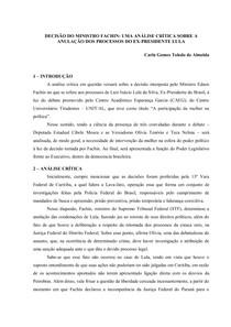 ANÁLISE CRÍTICA SOBRE A ANULAÇÃO DOS PROCESSOS DO EX-PRESIDENTE LULA