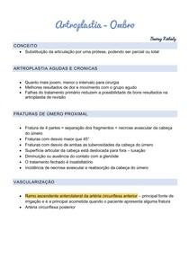 Artroplastia - úmero proximal - resumo