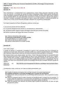 APOL 2   Gestão de Recursos Humanos (Subsistemas de RH) e Psicologia e Comportamento Organizacional