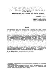 A IMPORTÂNCIA DA EDUCAÇÃO A DISTÂNCIA NA ATUAL SOCIEDADE-ARTIGO