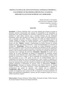 POLÍTICA NACIONAL DE ATENÇÃO INTEGRAL ÀS PESSOAS COM DOENÇA FALCIFORME E OUTRAS HEMOGLOBINOPATIAS