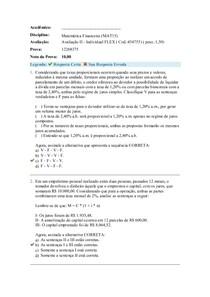 Avaliação II matemática financeira turma flex
