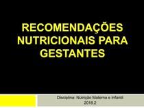 Aula 05 Recomendações nutricionais gestantes