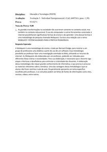 Avaliação I - Individual Semipresencial
