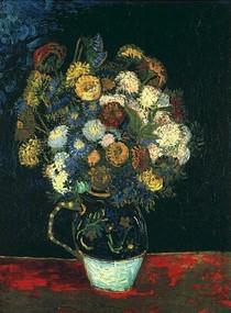 Vincent Willem van Gogh-ainda-vida de vaso-com-Zinnias