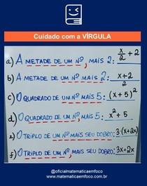 Equação do 1º grau: CUIDADO COM A VÍRGULA!