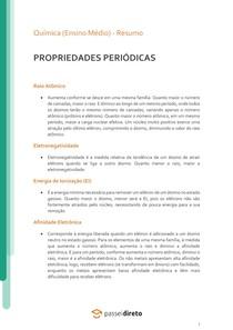 Propriedades periódicas - Resumo