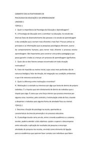 GABARITO DAS AUTOATIVIDADES DE psicologia da educação e da aprendizagem