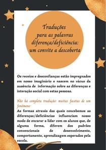 Traduções para as palavras diferença deficiência um convite a descoberta