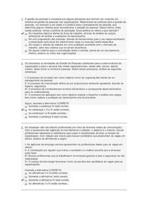 Avaliação I (objetiva) - Gestão de Pessoas  - Uniasselvi