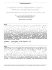 O diagnóstico diferencial entre experiências espirituais e transtornos mentais de conteúdo religioso