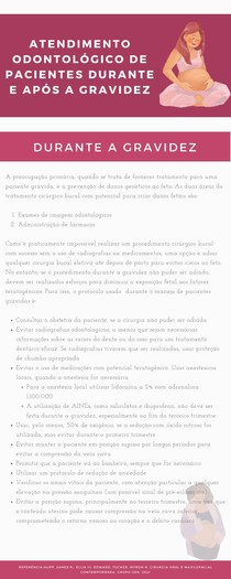 Atendimento odontológico de pacientes durante e após a gravidez