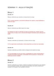 CARREIRA, LIDERANÇA E TRABALHO EM EQUIPE - QUESTÕES AP2 MARTHA FALCÃO (SEM. 11 à  17)