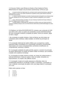 EXERCÍCIOS - EVOLUÇÃO HISTÓRICA DO CONCEITO DE DOENÇA